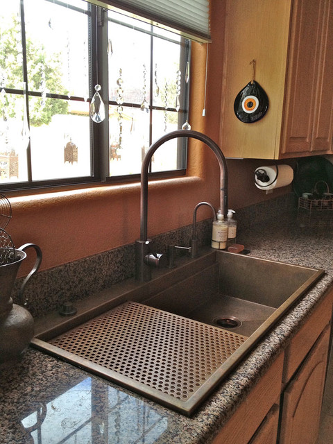 Rachiele Top Mount Signature Series Copper Sink Eclectic Kitchen Sinks Other Metro