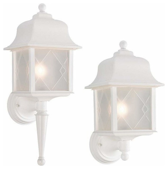 Exterior Wall Lights White : 1-Light Wall Lantern White - Traditional - Outdoor Wall Lights