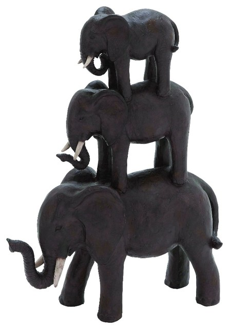 Sculpture Three Stacked Elephants Dark Brown Ivory Tusk Details Decor 44725 Rustic