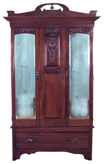 Antique Large Walnut Armoire Wardrobe - Traditional ...