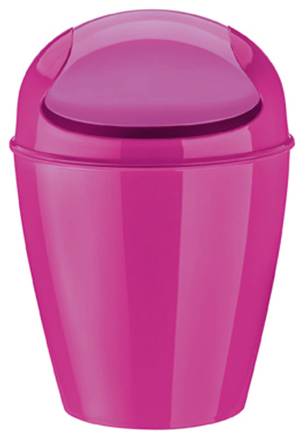 Koziol del swing top bin xs pink modern bathroom for Pink bathroom bin