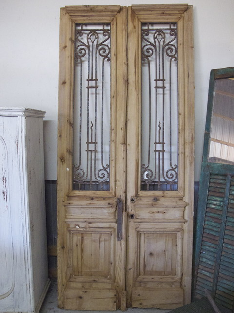 Pair Of Antique Pine Doors With Iron Inserts Eclectic Windows And Other Metro By
