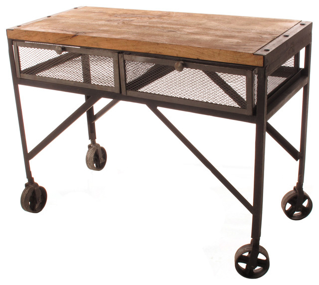 photos  Tribeca Industrial Mesh Drawer Caster Wheel Console Table eclectic side tables and end