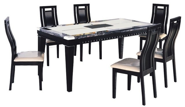 marble dining 7 piece set black and white contemporary dining sets