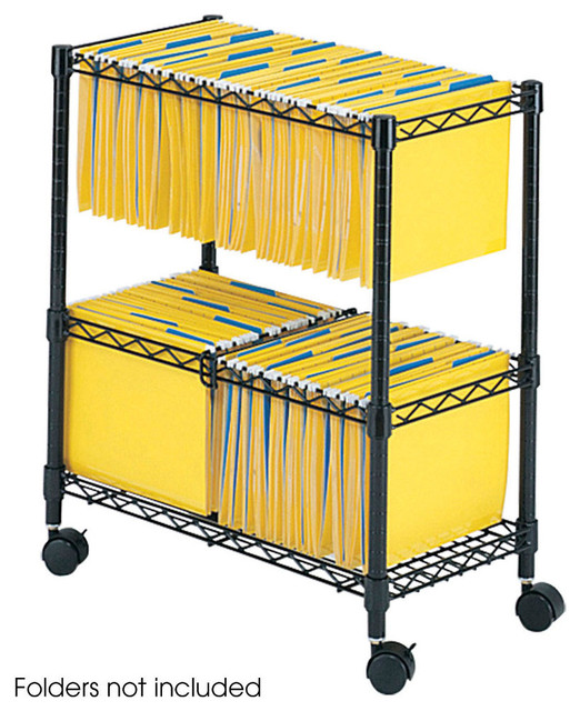 2-Tier Rolling File Cart - Black modern-desks-and-hutches