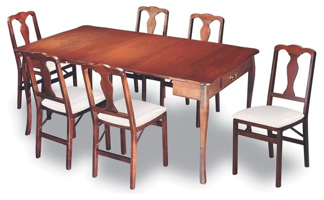 Expanding dining table in warm cherry finish traditional for Traditional dining table for 8