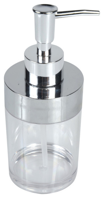 Bathroom Round Clear Acrylic Soap And Lotion Dispenser Chrome Top Contemporary Soap Lotion