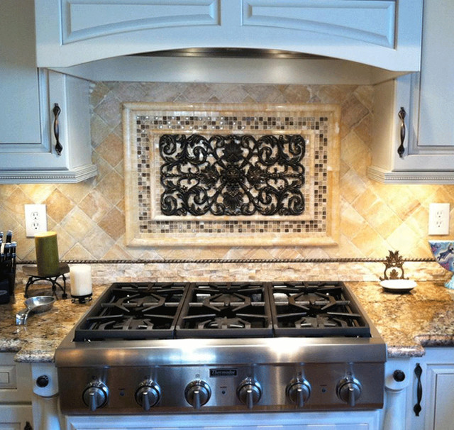 Kitchen backsplash mosaic and metal accent mural for Backsplash tile mural