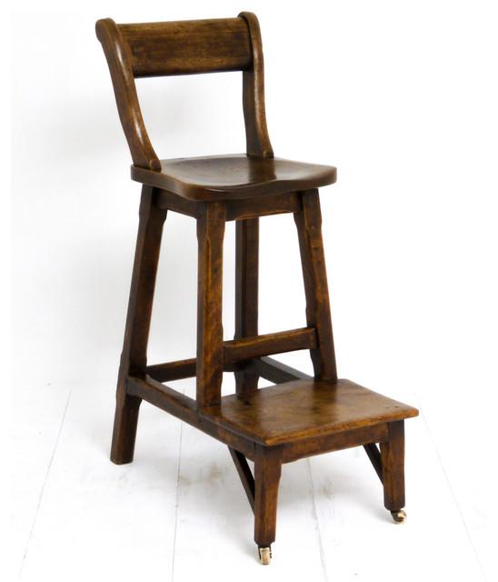 Victorian clerks walnut high chair - Traditional kitchen bar stools ...