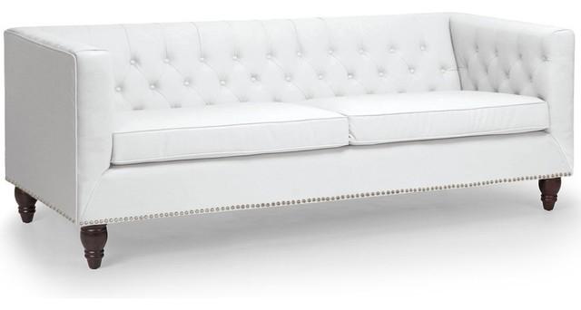 Canap fixe libra 3 places en cuir eco blanc effet lin for Canape romantique