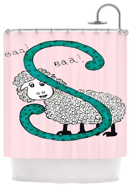 Rosie Brown Sis For Sheep Pink Pink Teal Shower Curtain Contemp