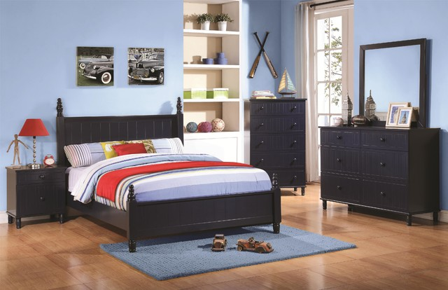 COASTER T S4 ZACHARY NAVY BLUE 4 PCS TWIN BEDROOM