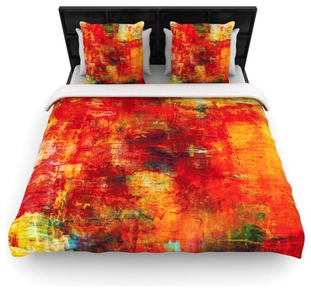 ebi emporium autumn harvest red orange fleece duvet cover king 104 x 88 contemporary. Black Bedroom Furniture Sets. Home Design Ideas