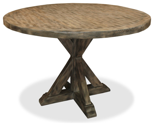 Seth recycled wooden round dining table rustic dining Rustic wood dining table