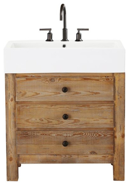 Mason reclaimed wood single sink console wax pine finish traditional bathroom vanities and for Single sink consoles bathroom