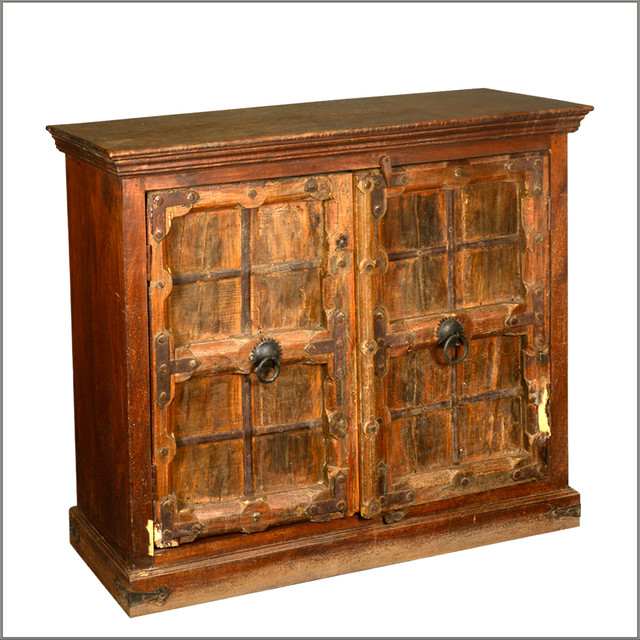 Rustic Reclaimed Wooden Storage Buffet Gothic 2 Door Accent Cabinet - Rustic - Accent Chests And ...