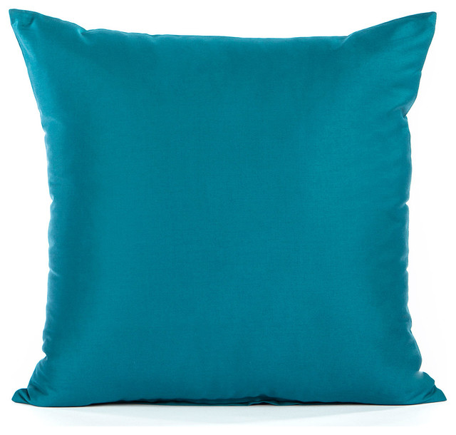 Decorative Pillows In Turquoise : Solid Sateen Turquoise Accent, Throw Pillow Cover - Contemporary - Decorative Pillows - by ...