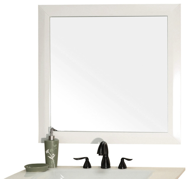 Solid wood frame mirror white modern bathroom mirrors for White framed mirror