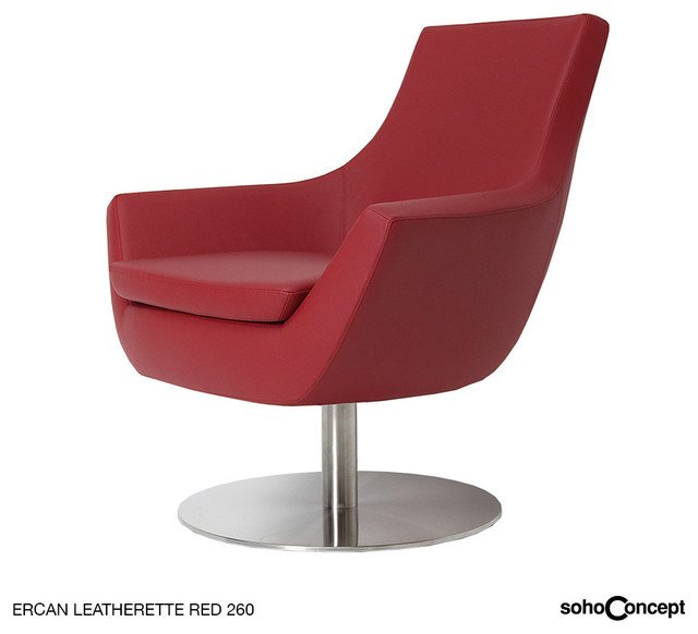 Soho concept rebecca arm chair swivel leather modern for Modern swivel accent chair