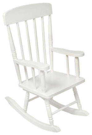 Childs Spindle Rocking Chair, White transitional-rocking-chairs