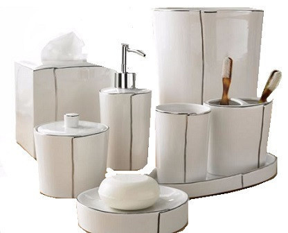 Parigi luxury bath accessories complete set bathroom for Cream bathroom accessories set