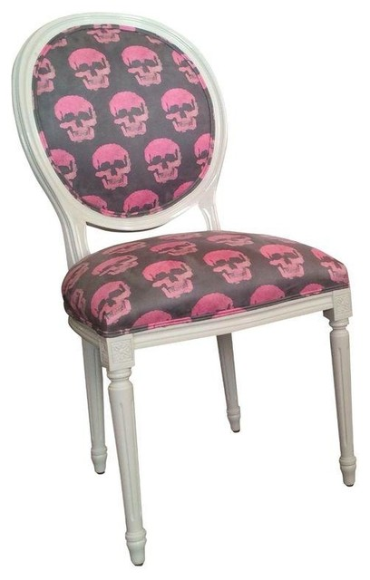 French Style Round Back Skull Print Chair Contemporary