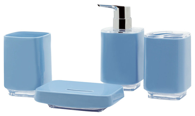 Infinity 4 piece bathroom accessory set gray blue - Modern bathroom accessories sets ...