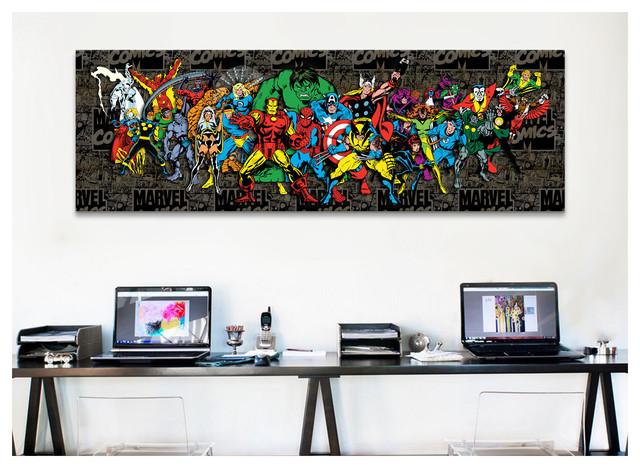 iCanvas Marvel Comic Book Character Lineup Comic Logo BG Canvas Print Wall Art contemporary-artwork