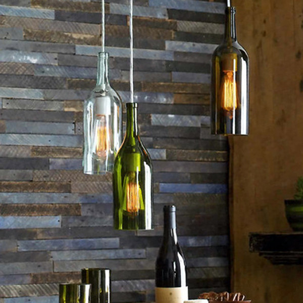 Recycled Wine Bottle Pendant Lamp Industrial