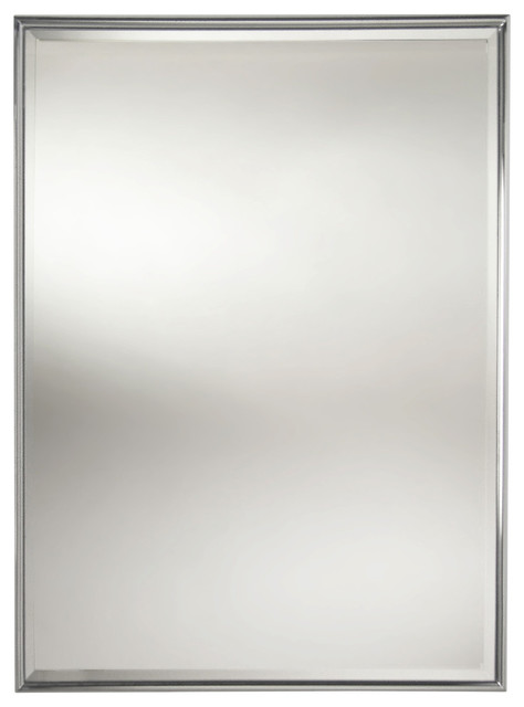 Essentials Rectangular Framed Mirror With Bevel Polished Nickel Modern Bathroom Mirrors