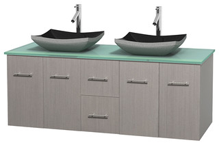 Centra 60 Grey Oak Double Vanity Green Glass Top Altair Black Granite
