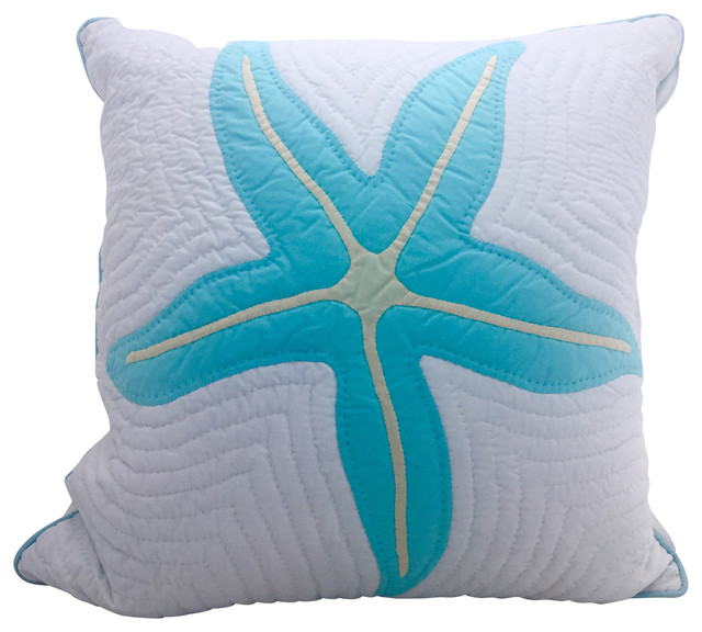 White Quilted Decorative Pillows : Hand Quilted Starfish Hawaiian Pillow - Beach Style - Decorative Pillows - by Beachco