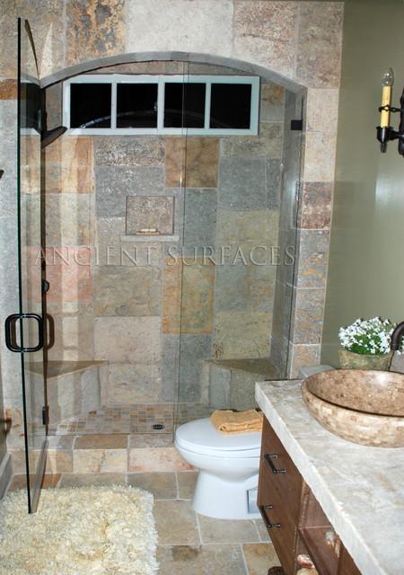 Rustic Bathroom Shower Walls Floors Countertop Traditional Los Ang