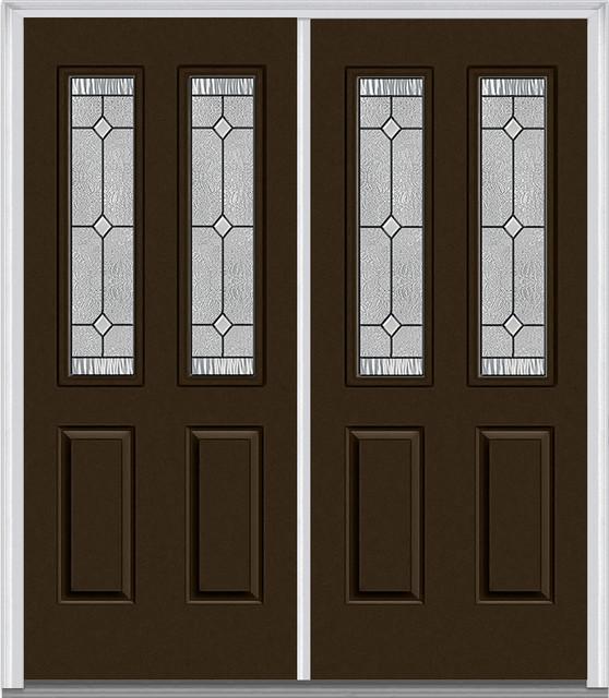 Carrollton 2 1 2 Lite 2 Panel Prehung Entry Door Brown 60 In X 80 In Double Traditional