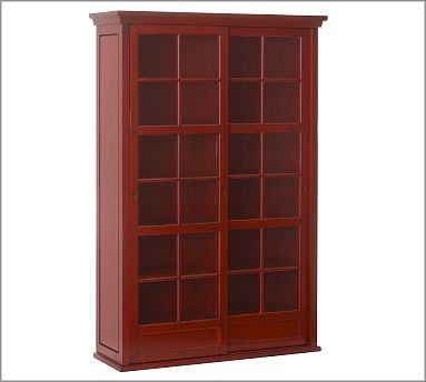 Garrett Glass Cabinet, Ming Red - Traditional - Storage Cabinets - by Pottery Barn