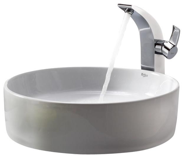 Kraus Sinks Uk : Kraus White Round Ceramic Sink and Illusio Faucet Chrome modern ...