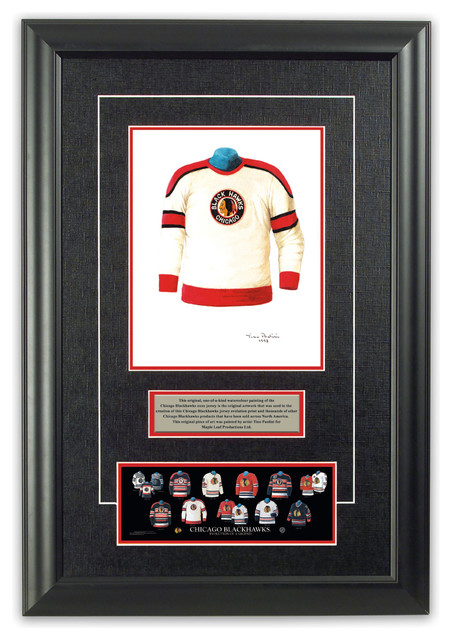 Original art of the nhl 1953 54 chicago blackhawks jersey for Accessoires decoration murale