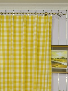 Yellow Plaid Blackout Window Curtain Panels Modern