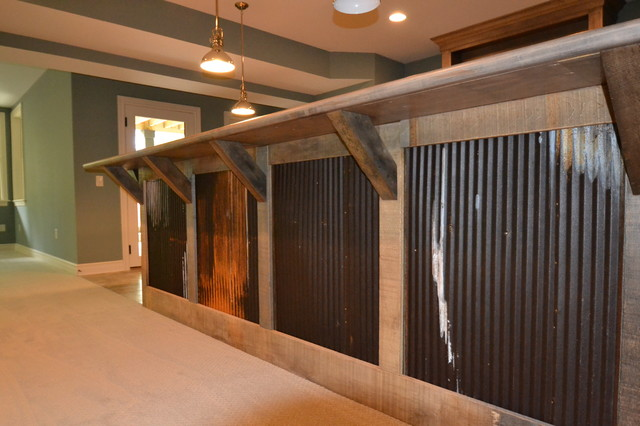 Custom residence in westfield 206 rustic basement indianapolis by hearth stone builders - Rustic bar ideas for basement ...