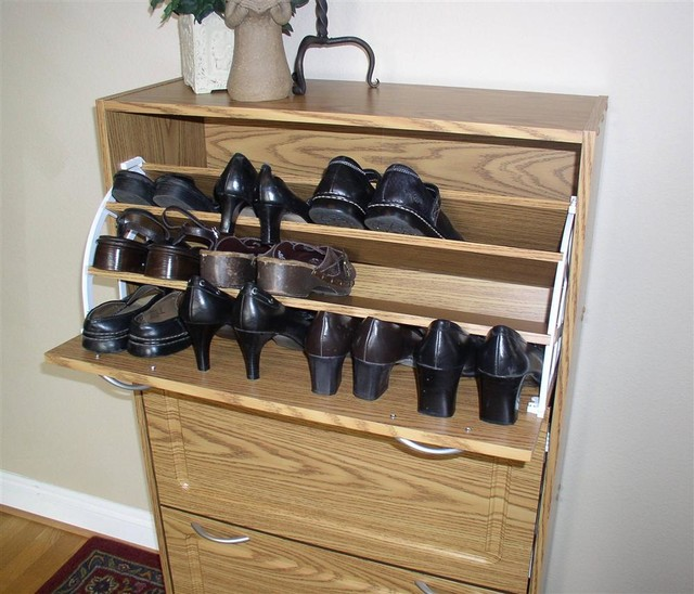 Deluxe Shoe Cabinet in Oak Finish w Three Pul - Contemporary - Furniture