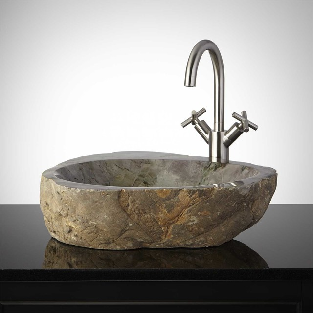 Foxglove Natural Stone Vessel Sink - Traditional - Bathroom Sinks - by ...