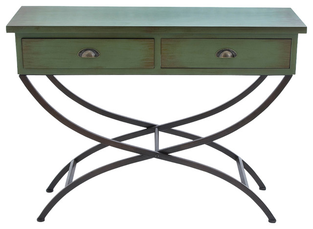 Metal wood table modern console tables by brimfield for Metal and wood console tables