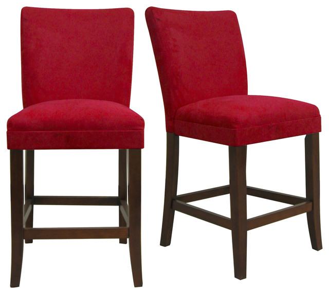 Average Accent Chair Height: TRIBECCA HOME Parson Cranberry Red Counter Height Chairs