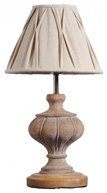 Country Style Handmade Wood Urn Home Table Lamp