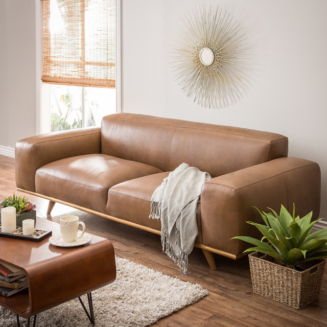 Dante Italian Oxford Tan Leather Sofa - Contemporary ...