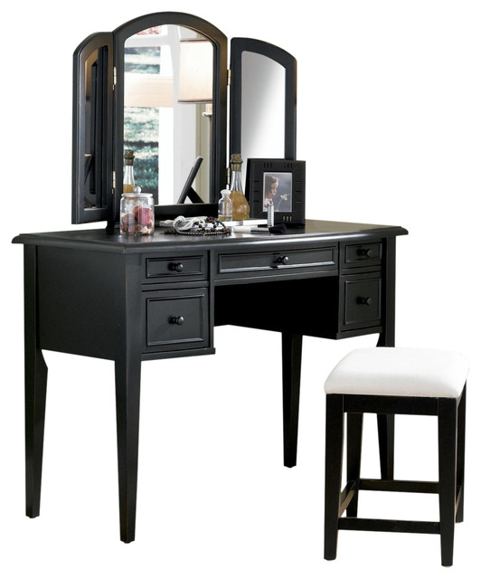 Antique black w sand through vanity tri folding mirror for Black makeup table with mirror