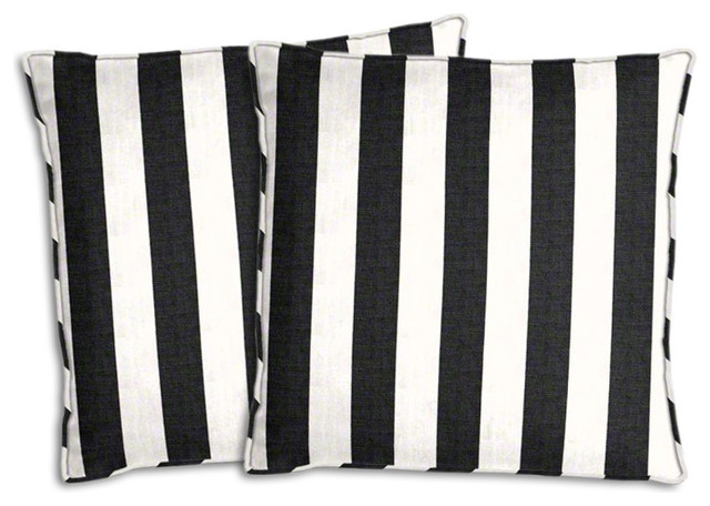 Black And White Striped Outdoor Pillow Set Traditional