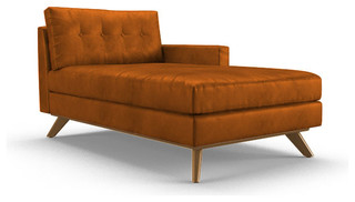 Hopson Leather Single Arm Chaise Brighton Volcano Brown Midcentury Indo