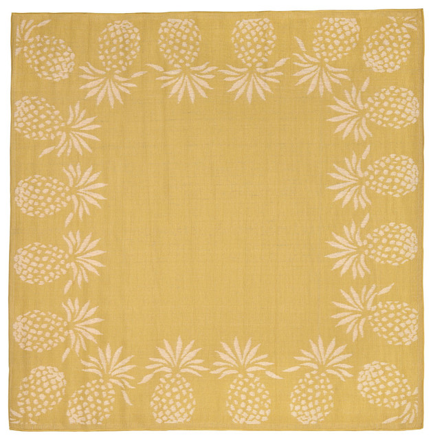 "Terrace Pineapple Rug, Yellow, 94""X94"""