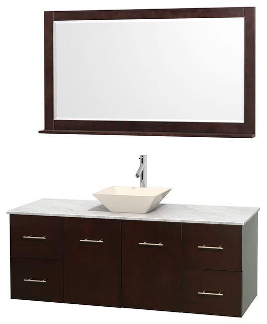 "58 Bathroom Vanity Single Sink: 60"" Single Bathroom Vanity In Espresso, Countertop, 58"